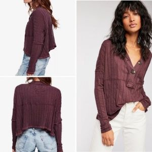 Free People In the Mix Henley Long Sleeve - EUC